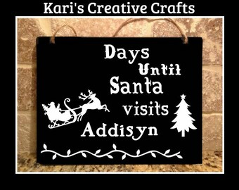 Christmas Countdown Chalkboard Sign, Santa's Count Down Board, Holiday Countdown Board, Countdown Sign