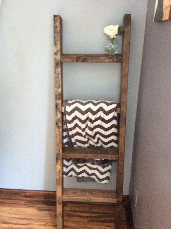 Decorative ladder wooden ladder blanket by wondersbywood for Decor ladder