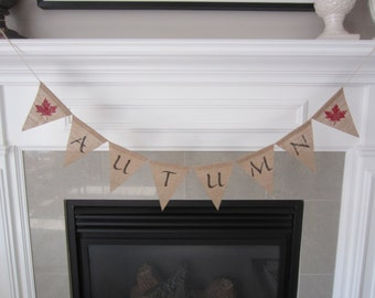 Autumn burlap banner - Fall banner with red maple leaves