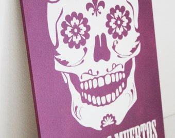 Dia De Los Muertos, Day of The Dead, Sugar Skull Purple wooden art painting