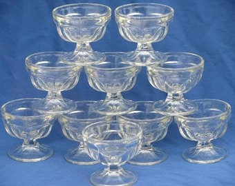 Lot of 10 Vintage Ice Cream Small Footed Ice Cream Dishes