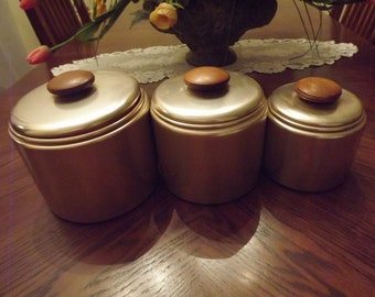 Set of 3 Vintage Canister Set Mirro Canisters Kitchen Canisters Kitchen Storage