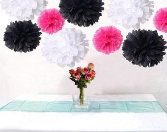 Bulk 18pcs Mixed Hot Pink Black White DIY Tissue Paper Flower Pom Poms Wedding Birtday Bridal Shower Hanging  Party Decoration