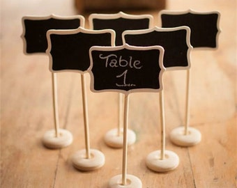 12pcs Mini Retangle Wooden Blackboard Chalkboard Stands Wedding Table Number Place Card Party Lolly Buffet Cake Topper