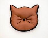 Cat Head Silhouette Decorative Pillow (Accent Pillow: Saddle Brown Faux Leather & Black Crochet Edging)