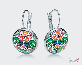 Earrings WHITE ROOSTERS