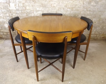 Original G plan Teak Dining Table and SIX Chairs BEING RESTORED - Mid Century Danish Designed by Kofod Larsen Fantastic Retro Condition