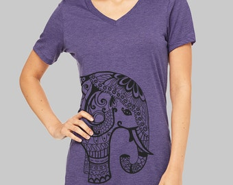 Elephant, V Neck T Shirt, Elephant Shirt, v neck shirt, womens, v neck tshirt, graphic tees, v neck, screen print shirt, women