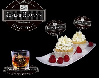 Personalized cupcake toppers for Jack Daniels party. Custom Name or Number of table cup cake topper. Party decor. Birthday tag whiskey style