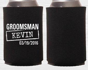 Custom Wedding Can Coolers - Groomsman - Wedding Favor