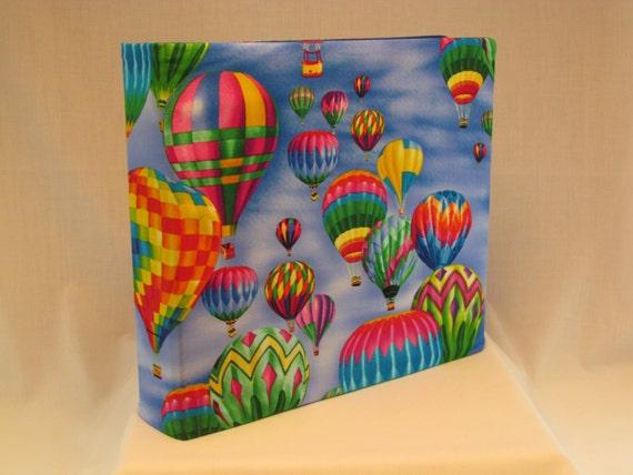 12x12 Postbound Fabric Scrapbook Photo Album Memory Book Handmade Hot Air Balloon Flying Gondola Basket Ballooning AO25B Album Outfitters