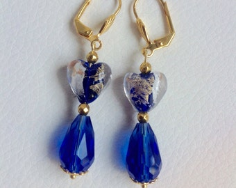 deep blue, Murano glass earrings