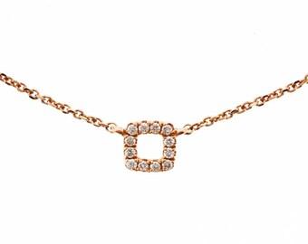14k Gold Mini Square Diamond Necklace