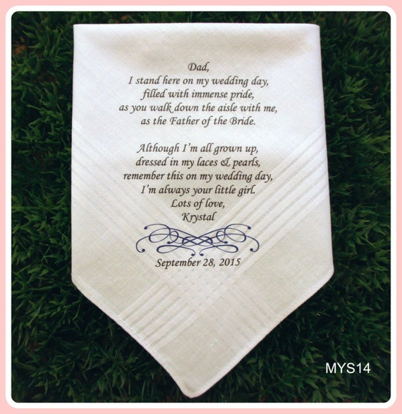 Wedding Gifts For Father Of Bride : Father of the Bride Gift-Wedding Handkerchief-PRINT-CUSTOMIZE-Wedding ...