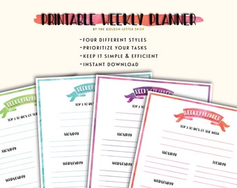 Weekly TO-DO Planner Printable Pages [Set of 4 - Letter Size] Instant Download