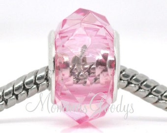 2 X Pink Faceted Acrylic European Big Hole Charm Bead fits Pandora Bracelets