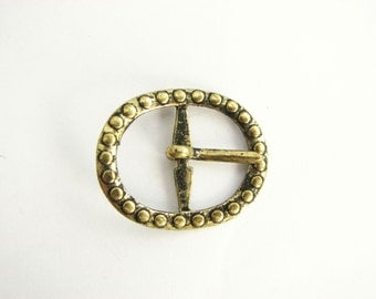 Small Gold tone belt buckle, Vintage metal buckle for belts, original from 1980s, never used!!