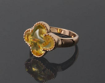Amber ring - Gold amber ring - Natural amber ring - Gold unique ring - Unusual gold ring  - Gold ring for women