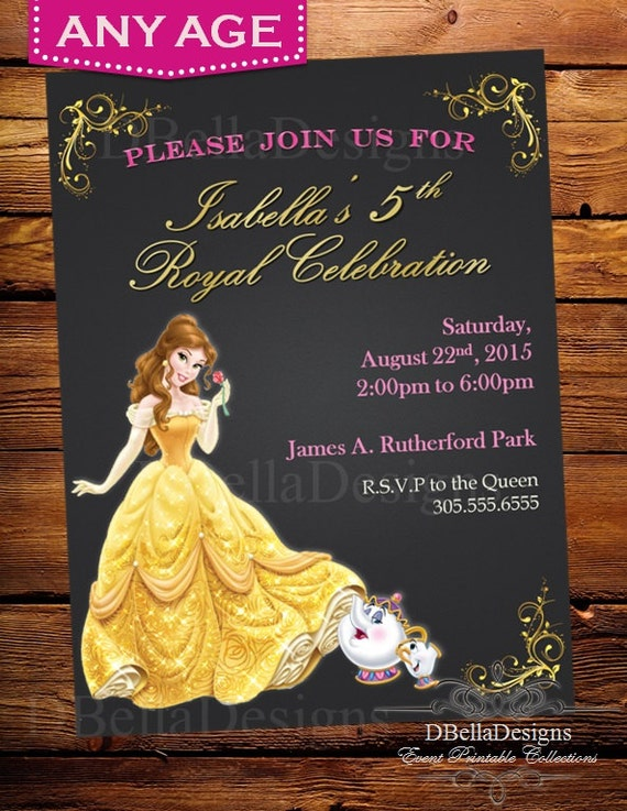 Disney Princess Belle Chalkboard InvitationThe Beauty and The