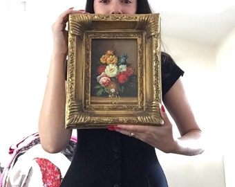 antique hand painted flower artwork