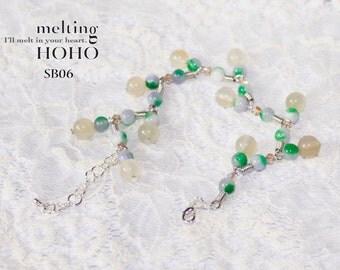 Zig Zag Beading Silver Bracelet & Silvermist Crystal Beads Silver Bracelet