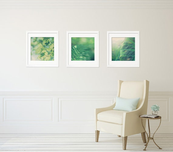 Wall Decor Green : Leaf wall art green decor set of by lightsongphotography