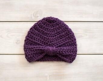 Purple Crochet Turban Style Hat