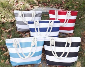 Monogrammed Beach Totes with Rope Handle