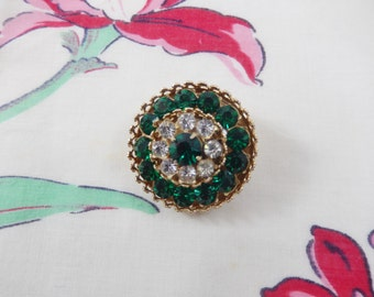 Vintage CORO Signed Three Tier Green and Clear Rhinestone Flower Brooch Pin