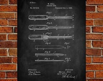 1895 Curling iron Art Print,  Patent, Curling iron Vintage Art,  Blueprint,  Poster, PatentPrints, Wall Art, Decor [Vi77A]