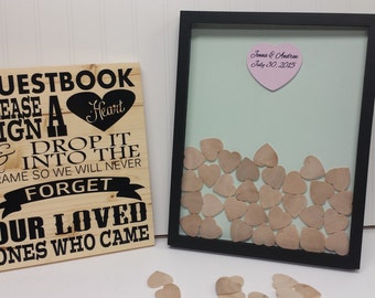 Unique Wedding Guestbook Sign and Drop in Frame (Alternate Guestbook) Shadow Box Guest Book