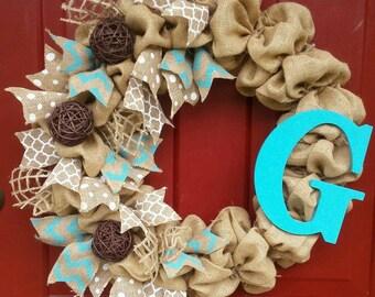 Turquoise Chevron Burlap Ribbon Initial Wreath