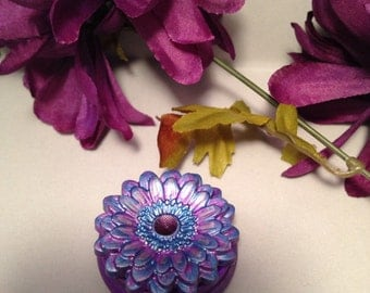 Purple, Silver, and Blue Flower Pill Box