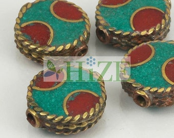 HIZE TBE98 Tibetan Turquoise Red Coral Inlaid Brass Round Button Tablet Beads 15mm (4)