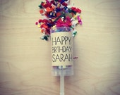 20 personalised happy birthday confetti push pops/party poppers/cannon/launcher