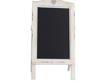 Rustic Vintage Style Woodland White A-Frame Stand Up Chalkboard Blackboard for Wedding, Welcome Sign, Order of Ceremony, Outdoor Wedding