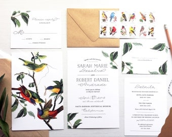 Vintage Bird and Greenery Wedding Invitation Set with Leaves and Calligraphy