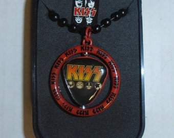 KISS Spinning Guitar Pick Necklace