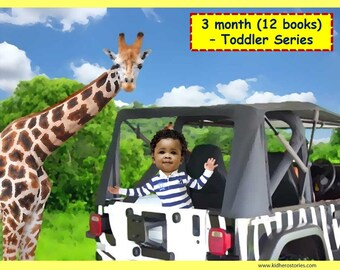 12x Personalized Children's Books with Photo- 3 month (12 titles) set of 3 personalized kids eBooks for Toddlers with their photo and name.