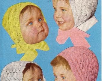 Vintage baby Bonnets Knitting pattern PDF, lovely old pattern