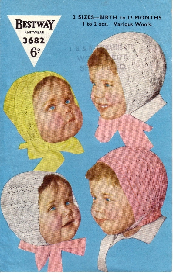 Knitting Pattern For Vintage Baby Bonnet : Vintage baby Bonnets Knitting pattern PDF lovely old pattern
