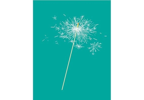 Sparkler fireworks illustration printable wall art. Digital wall decor. INSTANT DOWNLOAD.
