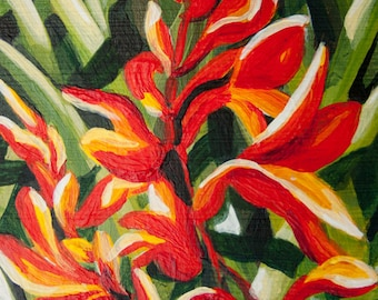 Original Miniature Painting, Art Card ACEO of Flowers, Crocosmia