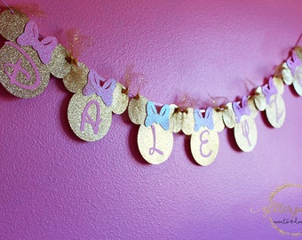 Pink & Gold Minnie Mouse Birthday Decoration Or Room Banner
