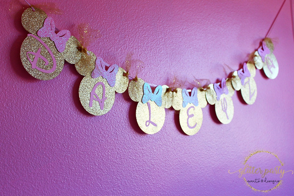 Pink Gold Minnie Mouse Birthday Decoration Or Room Banner