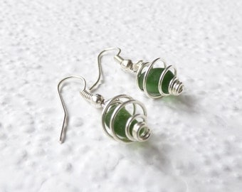Green Seaham seaglass silver plated coil earrings- genuine sea glass from England