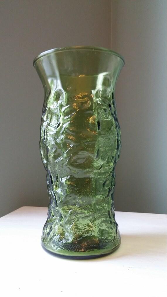 Eo Brody Co Vintage Green Crinkle Glass Vase By