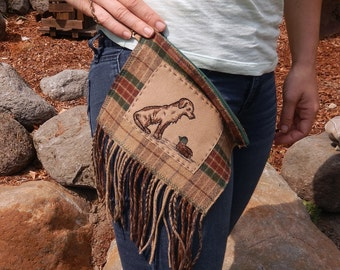Hand Embroidered  Wristlet #37-Bird Dog Plaid-Made with Pure USA Wool Fabrics-Cell Phone-credit card-money