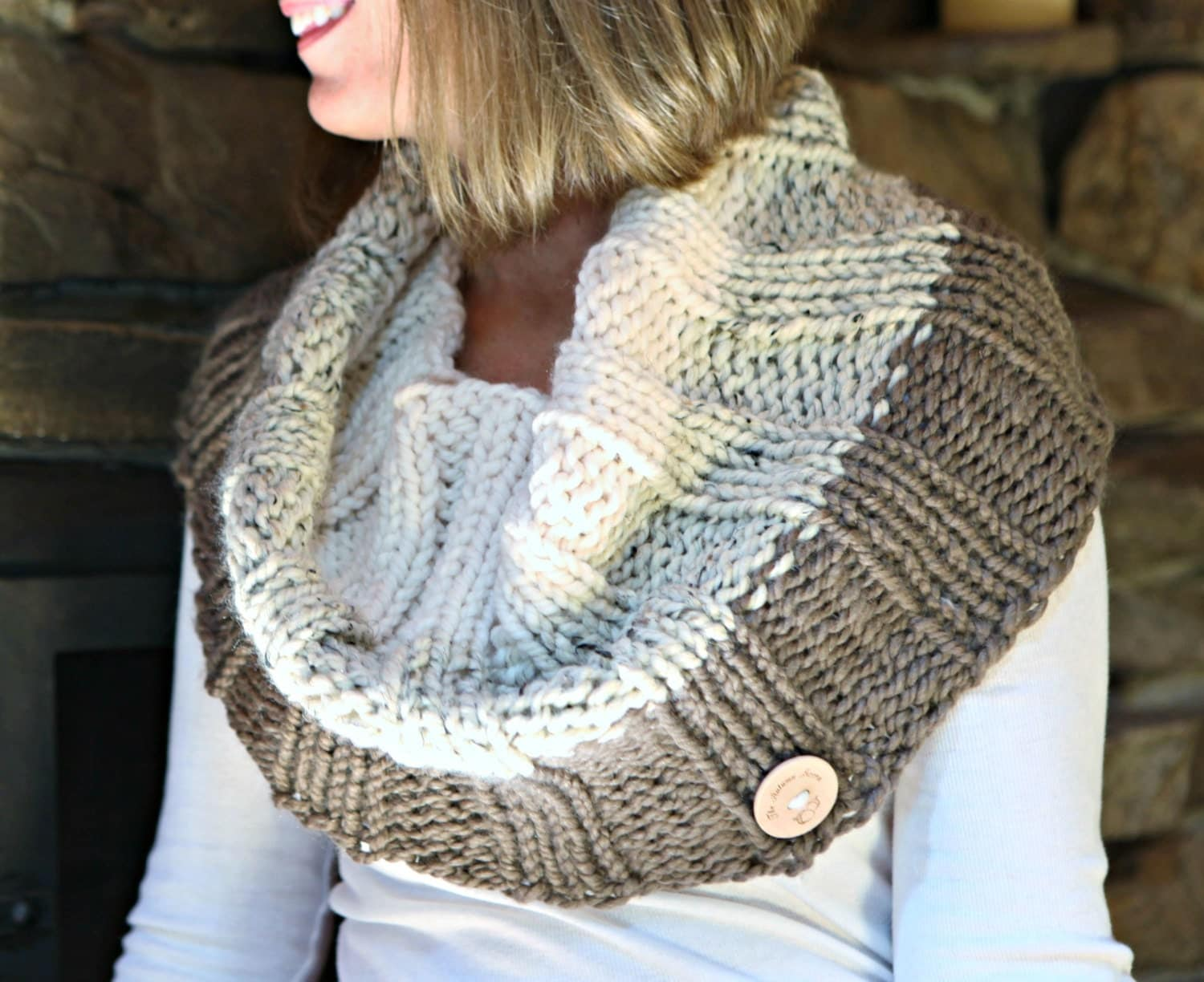 Knit Pattern Cowl Neck Warmer : Knitting Pattern Ombre Cowl Neck Warmer THE by TheAutumnAcorn