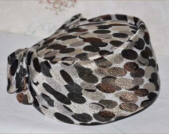 Leopard Metallic Pillbox, Brown-Beige-Metallic Gold Pillbox, Vintage Leopard Hat, Leopard Pillbox Hat, Vintage Brown Hat, Jackie Kennedy Hat